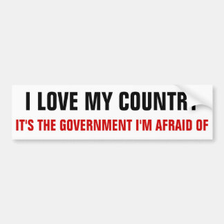 I love my country, it's the government i'm afraid car bumper sticker