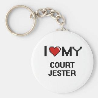 I love my Court Jester Basic Round Button Keychain