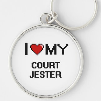 I love my Court Jester Silver-Colored Round Keychain