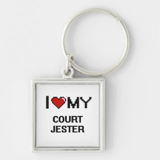 I love my Court Jester Silver-Colored Square Keychain