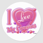 I Love My Cousins pink/purple - heart Classic Round Sticker