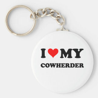 I Love My Cowherder Keychains