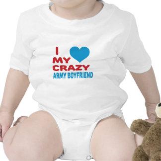I Love My Crazy Army Boyfriend. Baby Bodysuits