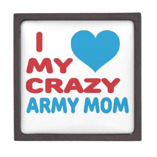 I Love My Crazy Army Mom. Premium Keepsake Boxes