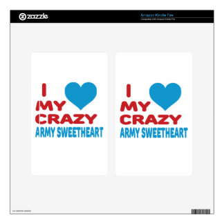 I Love My Crazy Army Sweetheart. Decal For Kindle Fire