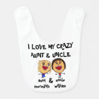 I Love My Crazy Aunt and Uncle Cartoon Bib