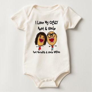 I Love My Crazy Aunt and Uncle Glasses Cartoon Baby Bodysuit