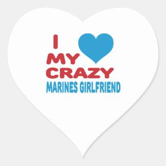 I Love My Crazy Marines Girlfriend. Heart Stickers