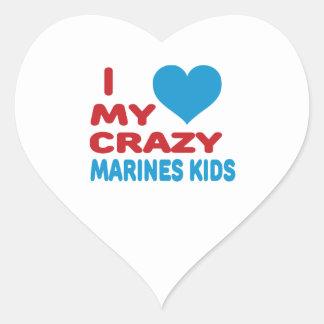 I Love My Crazy Marines Kids. Heart Stickers