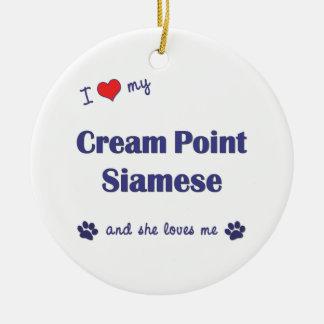 I Love My Cream Point Siamese (Female Cat) Christmas Tree Ornament