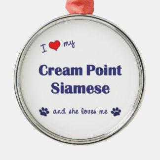 I Love My Cream Point Siamese (Female Cat) Christmas Tree Ornaments