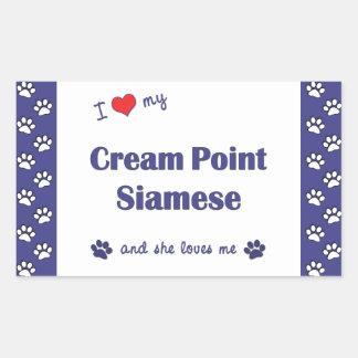 I Love My Cream Point Siamese (Female Cat) Rectangular Sticker