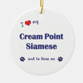 I Love My Cream Point Siamese (Male Cat) Christmas Tree Ornaments