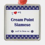 I Love My Cream Point Siamese (Male Cat) Christmas Ornaments