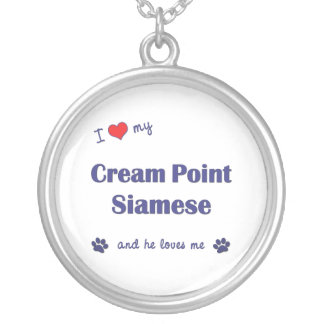 I Love My Cream Point Siamese (Male Cat) Silver Plated Necklace