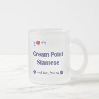I Love My Cream Point Siamese (Multiple Cats) Frosted Glass Coffee Mug