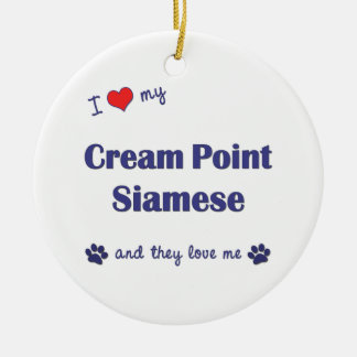 I Love My Cream Point Siamese (Multiple Cats) Christmas Ornament