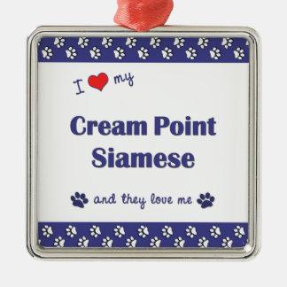 I Love My Cream Point Siamese (Multiple Cats) Christmas Tree Ornaments