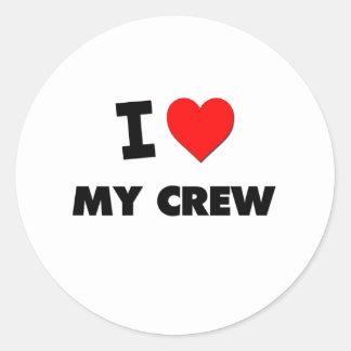 I love My Crew Classic Round Sticker