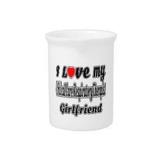 I Love My Critical Care Respiratory Therapist Girl Beverage Pitcher