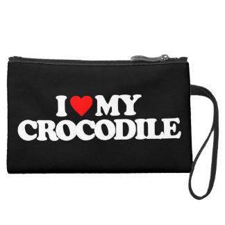 I LOVE MY CROCODILE WRISTLET PURSES
