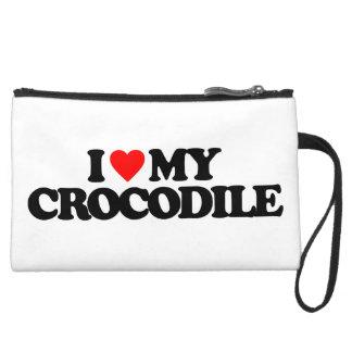I LOVE MY CROCODILE WRISTLET PURSE