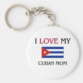 I Love My Cuban Mom Basic Round Button Keychain