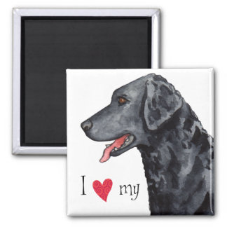 I Love my Curly-Coated Retriever 2 Inch Square Magnet