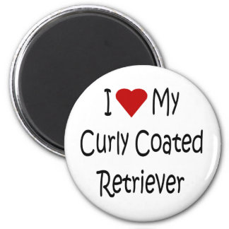 I Love My Curly Coated Retriever Dog Lover Gifts 2 Inch Round Magnet