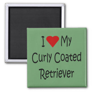 I Love My Curly Coated Retriever Dog Lover Gifts 2 Inch Square Magnet