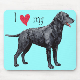 I Love my Curly-Coated Retriever Mouse Pad