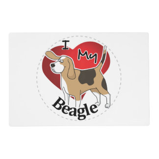I Love My Cute Funny Happy & Adorable Beagle Dog Placemat