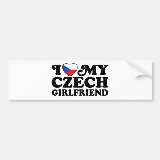I Love My Czech Girlfriend Car Bumper Sticker