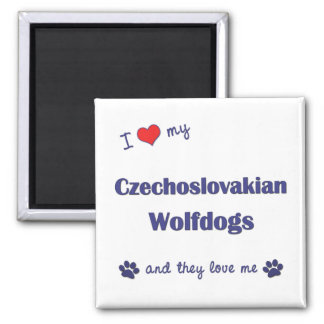 I Love My Czechoslovakian Wolfdogs (Multiple Dogs) 2 Inch Square Magnet