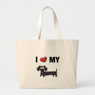 I love my dachshund black tote bags