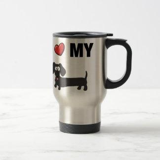 I love my dachshund (black) travel mug