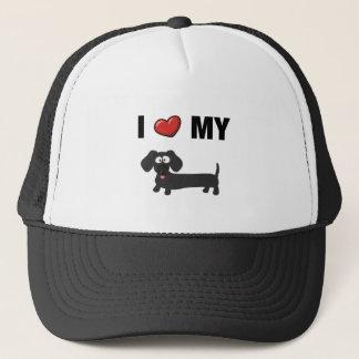 I love my dachshund (black) trucker hat