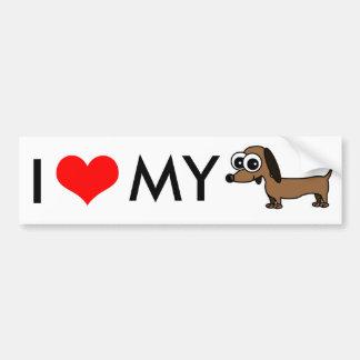I Love My Dachshund Bumper Sticker