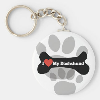 I Love My Dachshund - Dog Bone Keychain