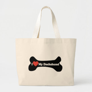 I Love My Dachshund - Dog Bone Large Tote Bag