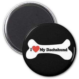 I Love My Dachshund - Dog Bone Magnet