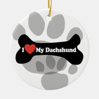 I Love My Dachshund - Dog Bone Ornament