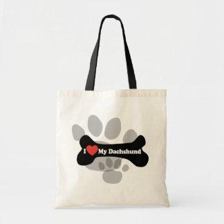 I Love My Dachshund - Dog Bone Tote Bag