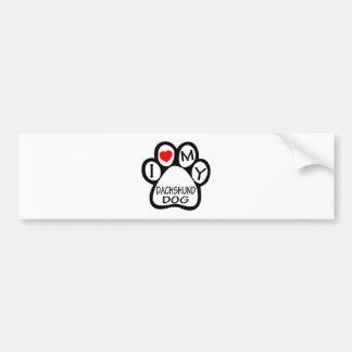I Love My Dachshund Dog Bumper Sticker