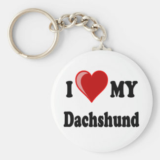 I Love My Dachshund Dog Gifts & Apparel Keychain