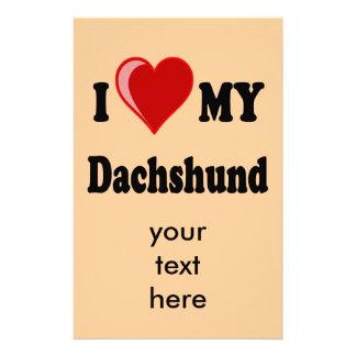 I Love My Dachshund Dog Gifts & Apparel Stationery Design