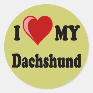 I Love My Dachshund Dog Gifts & Apparel Classic Round Sticker