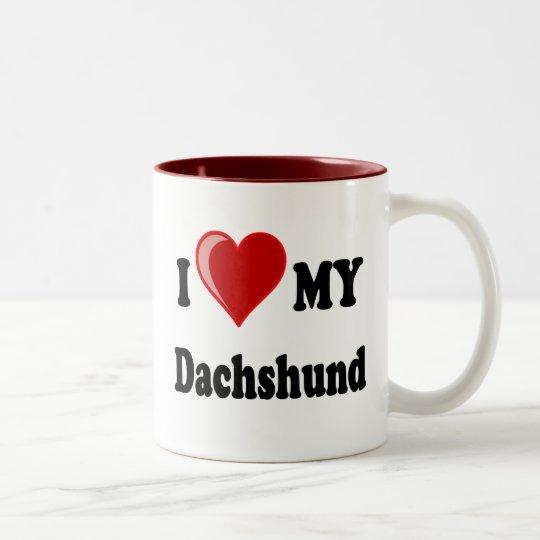 I Love My Dachshund Dog Gifts & Apparel Two-Tone Coffee Mug