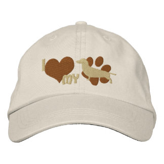 I Love my Dachshund Embroidered Hat (Brown)