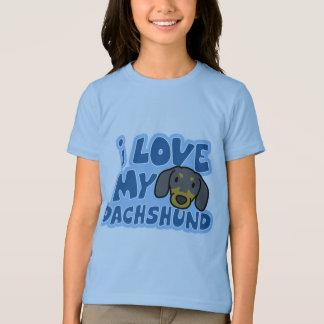 I Love My Dachshund Girl's Ringer TShirt